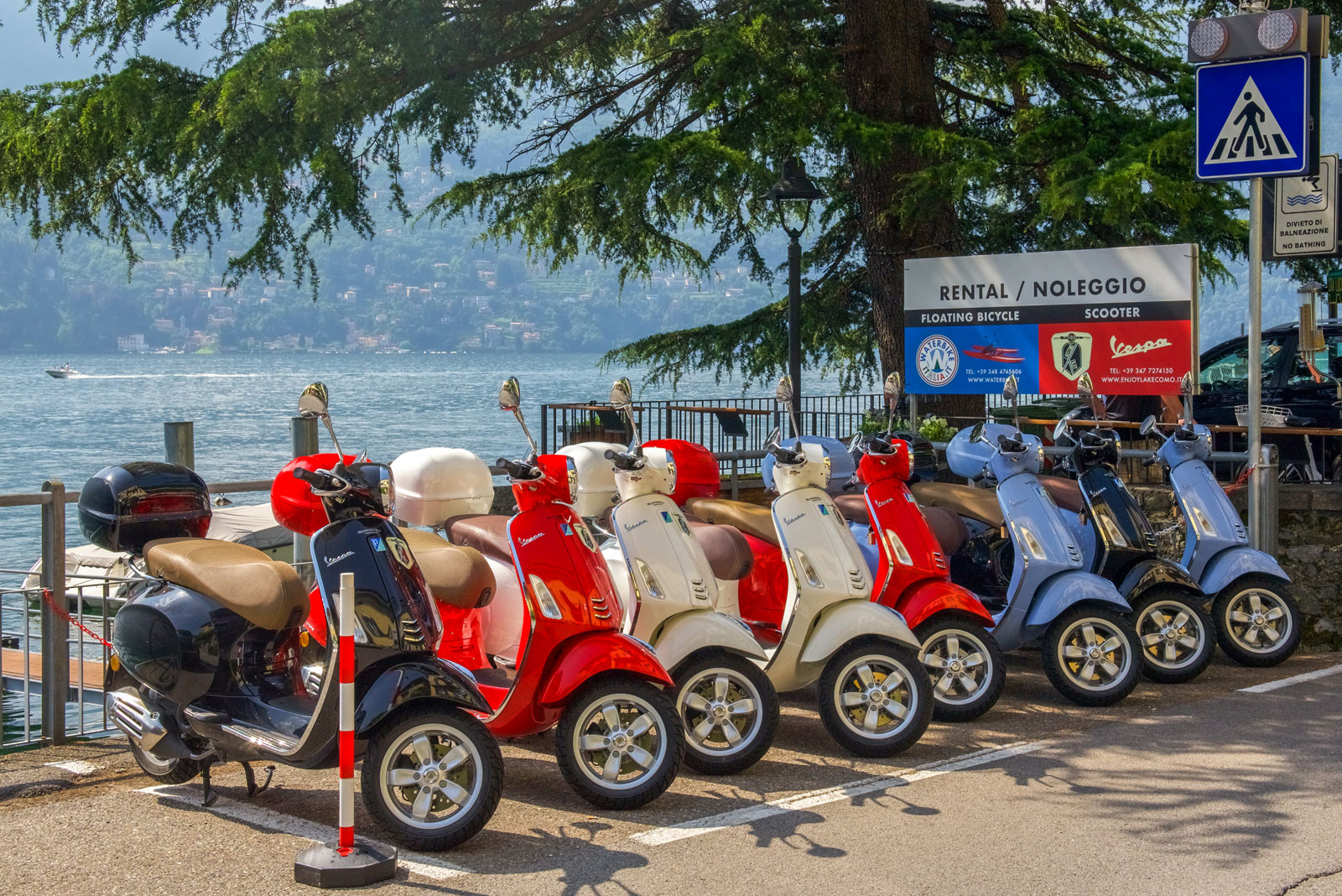 Vespa, Comomeer, huren, Laglio, Enjoy Lake Como, rental